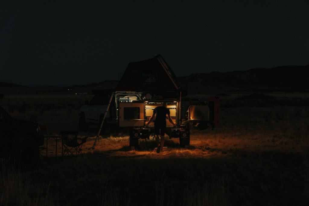light during night with van life