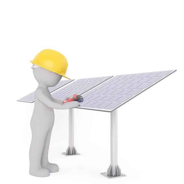 solar panel and workers