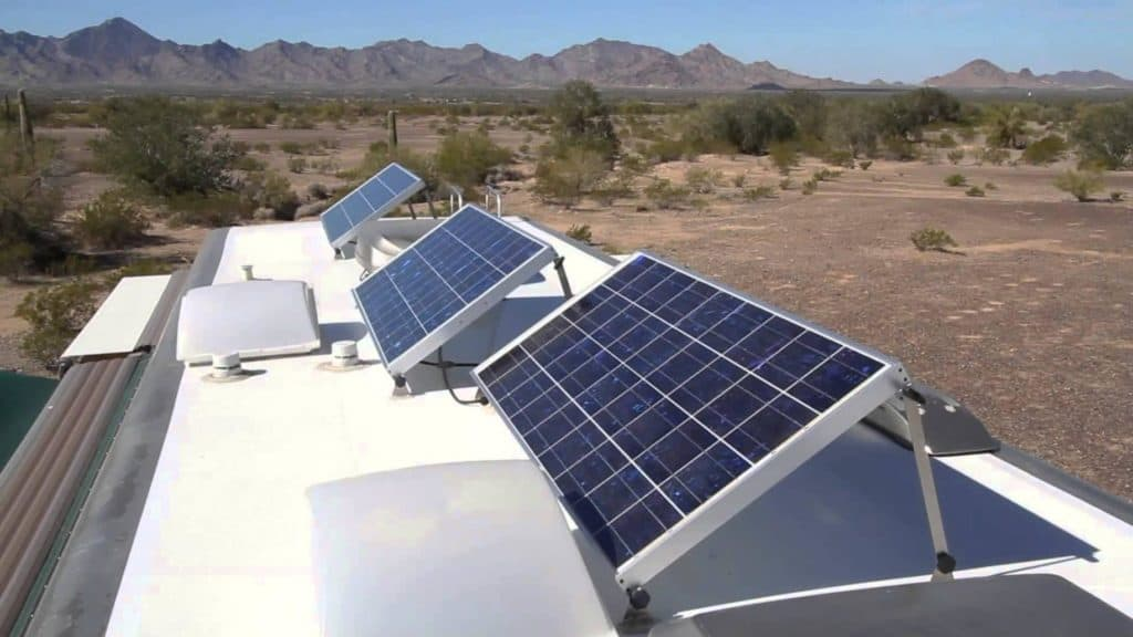 solar panel on a rv roof