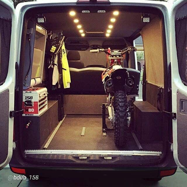 motorcycle inside a van